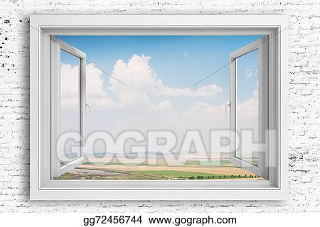 Stock Illustration - 3d window frame with beautiful blue sky ...