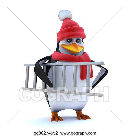 drawings 3d winter penguin brings his ladder stock illustration