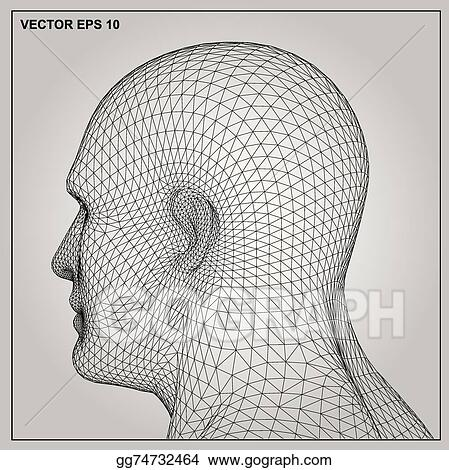 Vector Clipart - 3d wireframe human male head. Vector Illustration ...