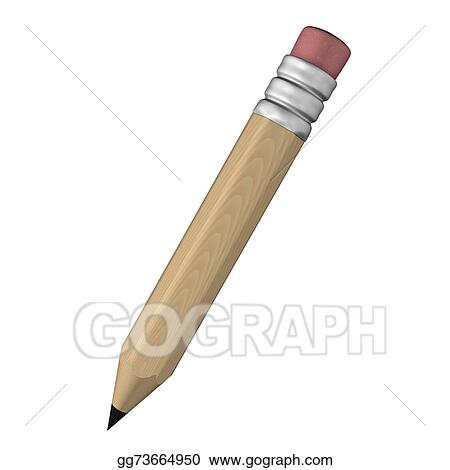 clipart 3d wooden pencil with eraser illustration isolated in