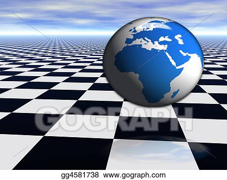 Drawing 3d World Globe Jumping On Abstract Chess Black And