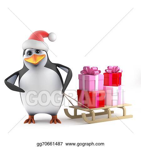Stock Illustrations - 3d xmas penguin gift sleigh. Stock Clipart ...