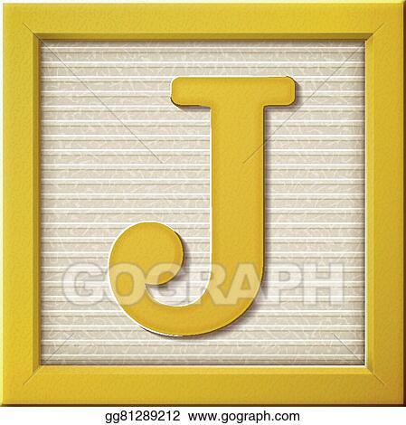 Vector Clipart 3d Yellow Letter Block J Vector Illustration