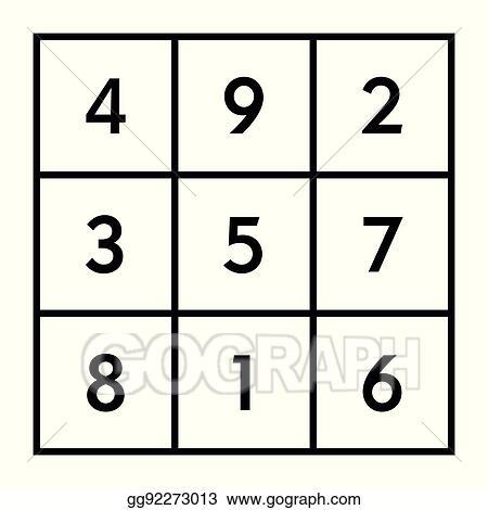 Clip Art Vector - 3x3 magic square with sum 15 of planet saturn