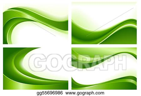 Vector Art 4 Abstract Green Wave Backgrounds Clipart