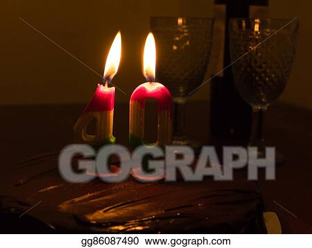 Stock Photo 40 Candle On Chocloate Birthday Cake Stock