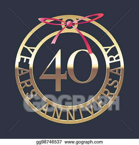 eps vector 40 years anniversary vector icon symbol stock clipart