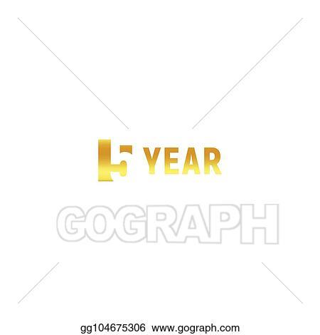 Vector Art 5 Year Happy Birthday Gold Logo On White Background