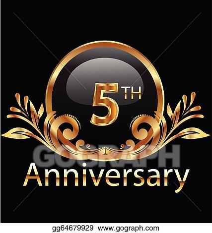 Vector Illustration 5 Years Anniversary Birthday Stock Clip Art