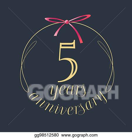 5 year Happy Birthday greeting card. 5th anniversary celebration Template.  five number and festive piece of cake with candle. Balloon and Gift box.  Clipart   k55248684   Fotosearch