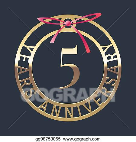 Vector Art 5 Years Anniversary Vector Icon Symbol Clipart