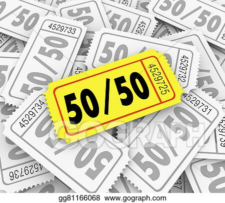 50 fifty raffle tickets pile fundraiser charity contest winner