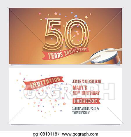 Eps Vector 50 Years Anniversary Invite Vector Illustration