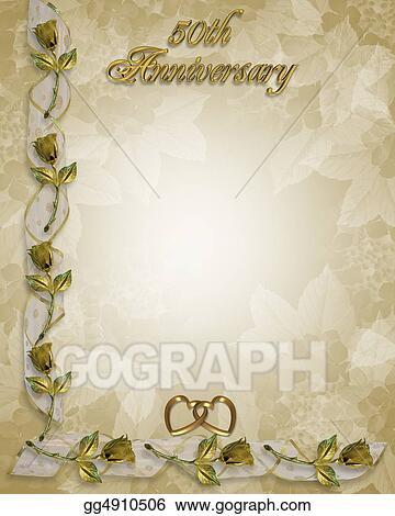 stock illustration 50th anniversary invitation gold clip art
