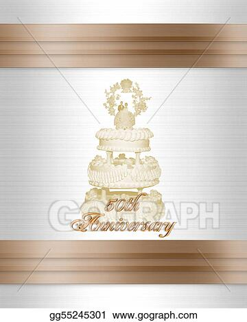 Stock Illustration - 50th anniversary wedding cake invitation. Clip ...