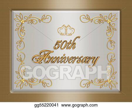 Drawing th golden wedding anniversary invitation clipart