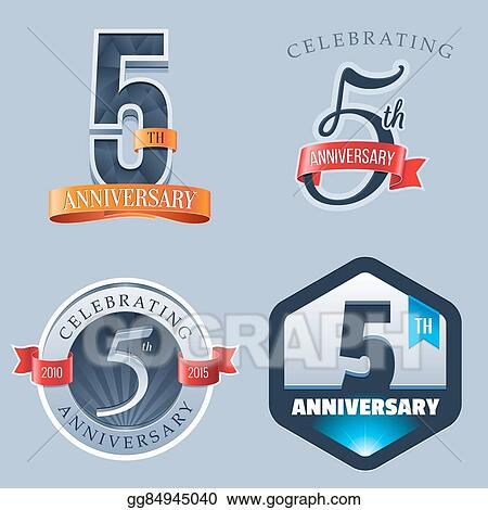 Eps Vector 5th Anniversary Logo Stock Clipart Illustration