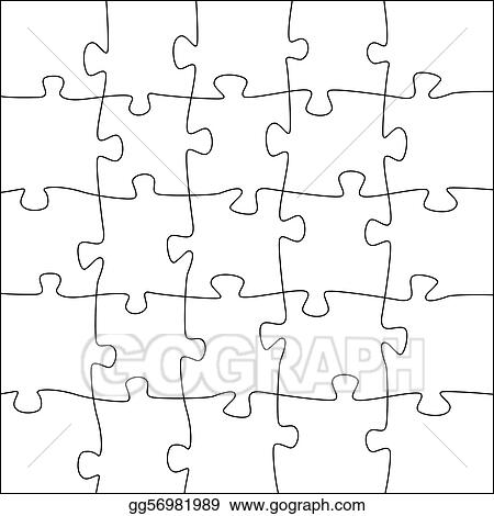 5x5 Jigsaw Puzzle Template