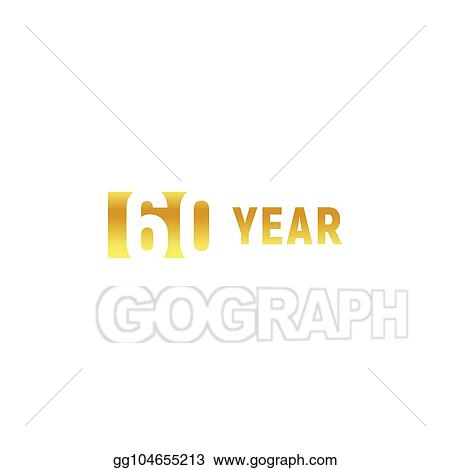vector illustration 60 year happy birthday gold logo on white