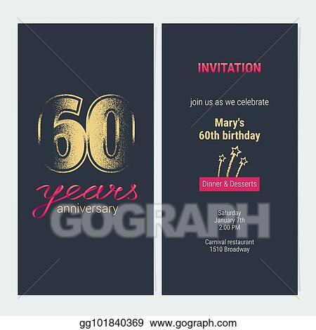 Vector Illustration 60 Years Anniversary Invitation Vector