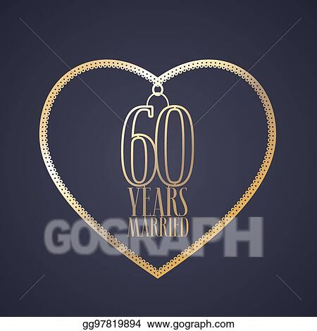 Vector Clipart 60 Years Anniversary Of Being Married Vector Icon