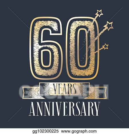 Clip Art Vector 60 Years Anniversary Vector Icon Logo Stock Eps