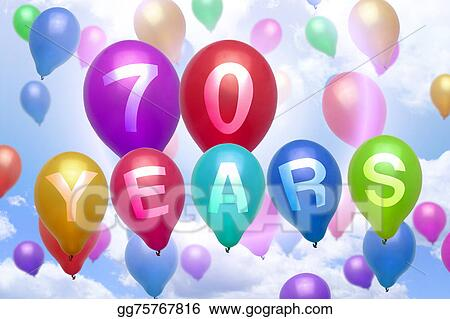 70 Years Happy Birthday Balloon Colorful Balloons
