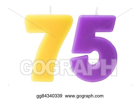 75th Birthday Candles Isolated