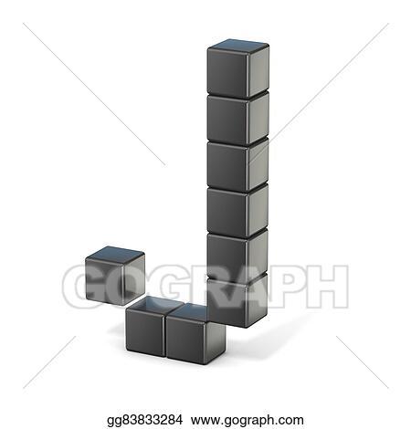 Stock Illustrations 8 Bit Font Capital Letter J 3d Stock