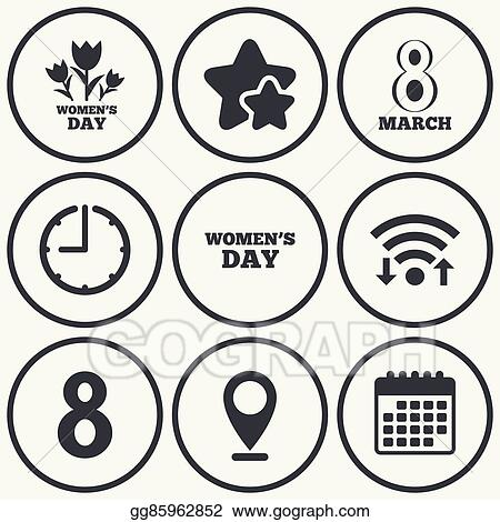 Clip Art Vector 8 March Womens Day Icons Flowers Symbols Stock