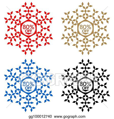 Vector Illustration 80 Off Discount Sticker Snowflake 80 Off