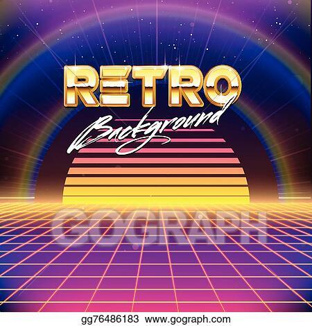 Vector Illustration - 80s retro futurism scifi background