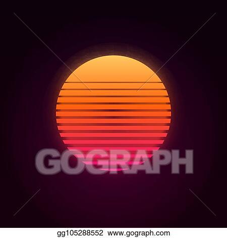 Vector Clipart - 80s retro sunset vector illustration