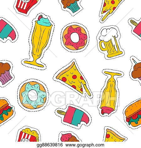 Vector Illustration - 90s retro fast food patch icon