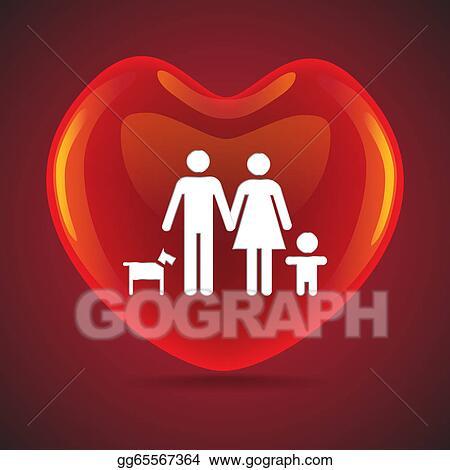 Clip Art A Basic Family In Big Heart Symbol Illustration Stock