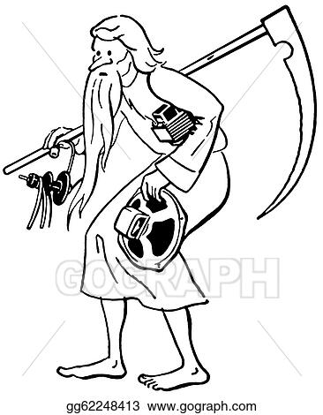 Stock Illustrations A Black And White Version Of A Frail Old Man Weighed Down Stock Clipart Gg62248413 Gograph