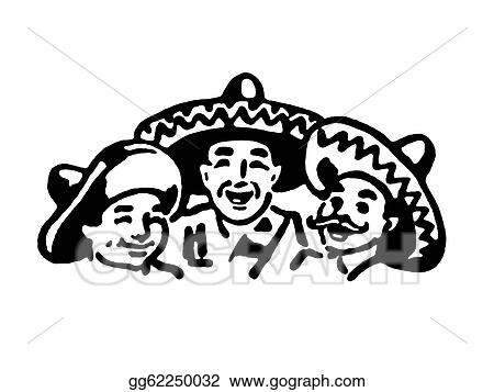 A Black And White Version Of Graphic Illustration Traditional Mexican Family