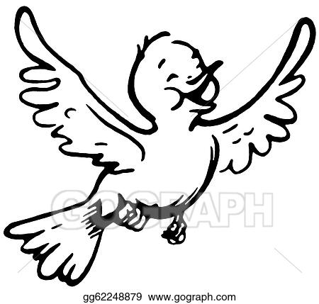 Clip Art - A Black And White Version Of A Happy Looking Bird Flying. Stock Illustration ...