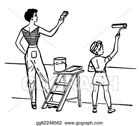 Clip Art A Black And White Version Of A Mother And Child Painting