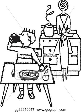 kitchen table clipart black and white. stock illustration a black and white version of young boy eating at table with his mother in the kitchen clipart gg62250077 gograph t
