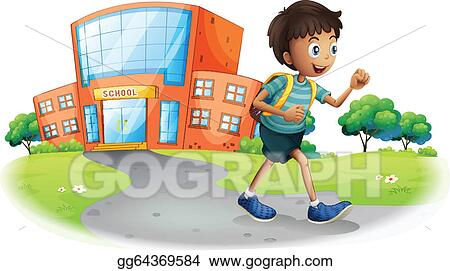 Vector Illustration - A boy going home from school. Stock ...