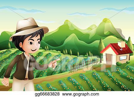 A Boy Pointing At The Barnhouse Farm