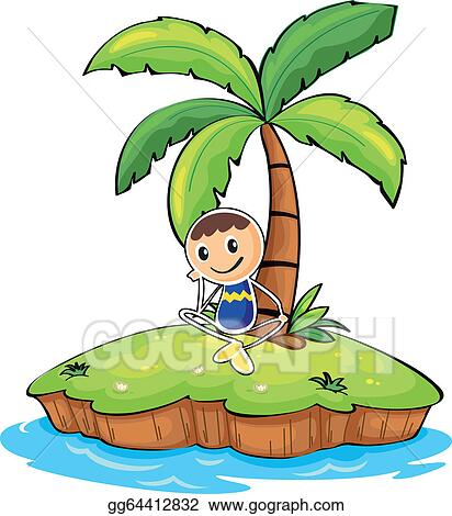 vector art a boy sitting under the coconut tree eps clipart