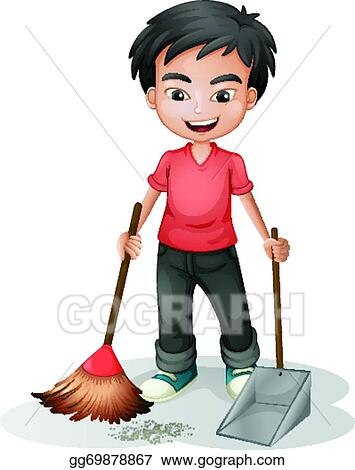 Vector Stock A Boy Sweeping The Dirt Stock Clip Art