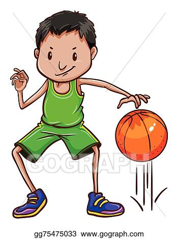 5876ea1b01e1 EPS Vector - A coloured sketch of a basketball player wearing a green  uniform on a white background. Stock Clipart Illustration gg75475033
