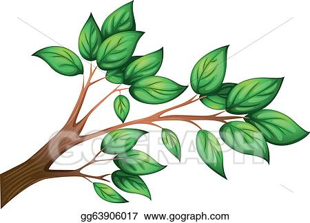 Vector Art A Branch Of A Tree With Leaves Clipart Drawing Gg63906017 Gograph