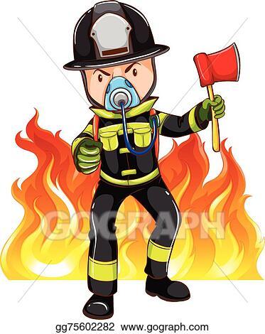 vector illustration a brave fireman eps clipart