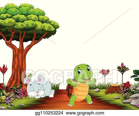Eps Illustration A Bunny Sleep Under Tree While Tortoise Run On