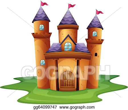Eps Illustration A Castle With Three Flags Vector Clipart