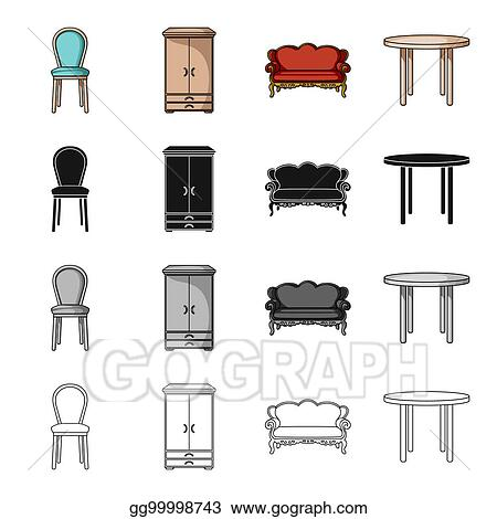 Stock Illustration A Chair A Wardrobe A Couch A Dining Table